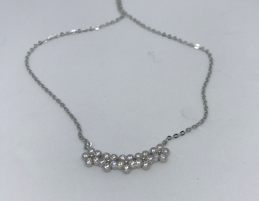 Silver Flower CZ Necklace