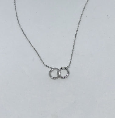Silver Double Halo CZ Necklace