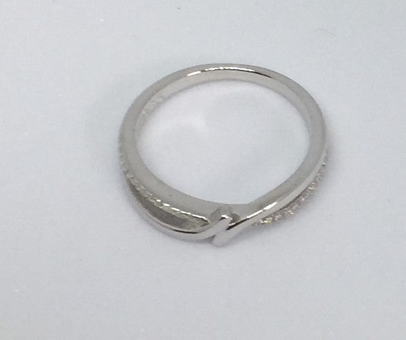 Sterling Silver Double Curved Clear CZ Ring