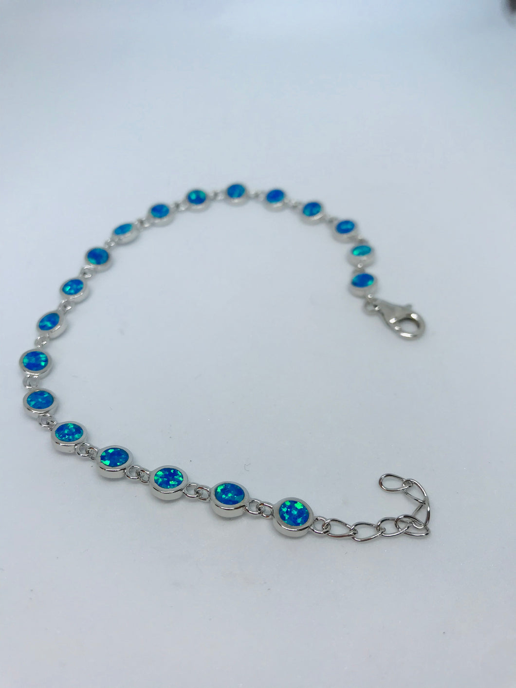 Sterling Silver Round Blue Opal Braclet