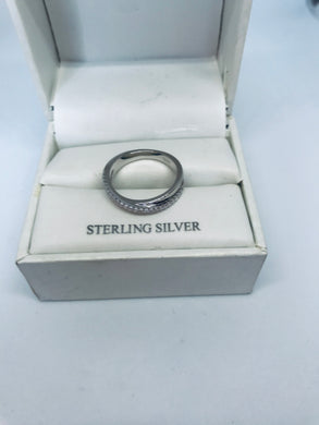 Sterling Silver Overlap Clear CZ Ring