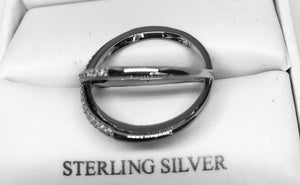 Sterling Silver Overlap X CZ Ring