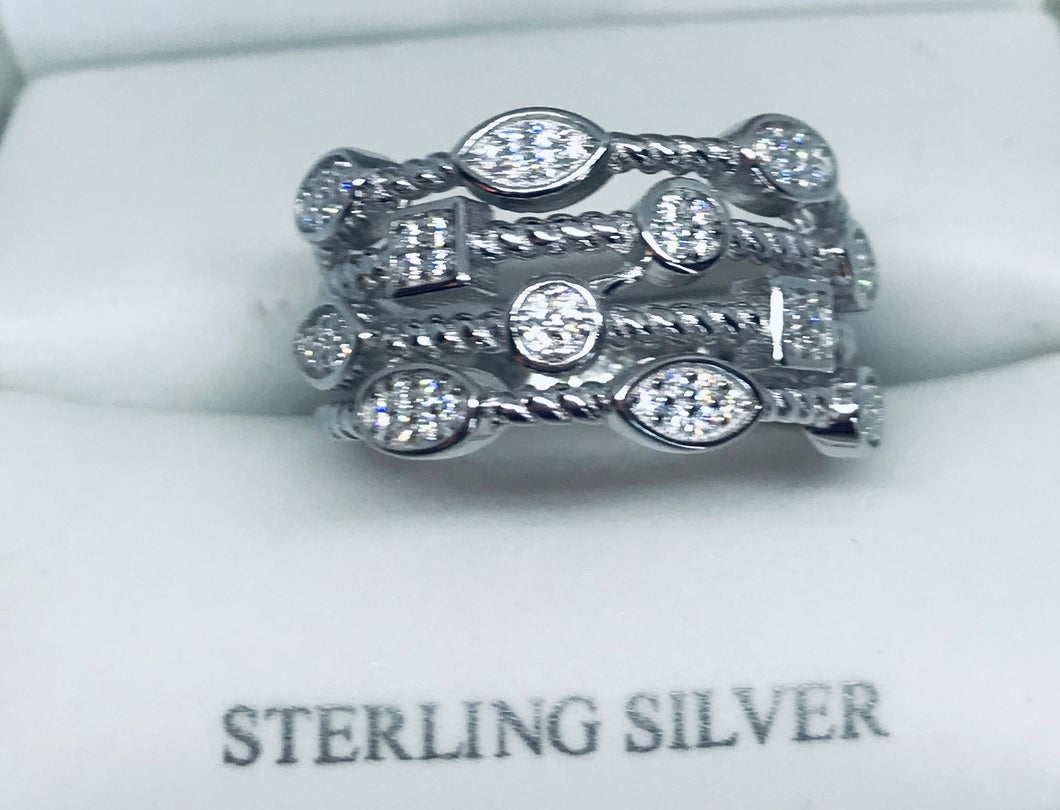 Sterling Silver Multi-Shape Rope Round Clear CZ Ring