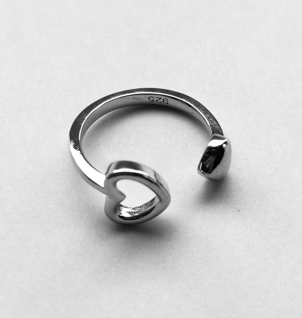 Silver End to End Heart Ring