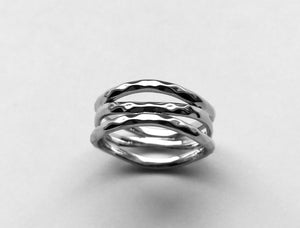 Silver 3 Way Hammered Ring