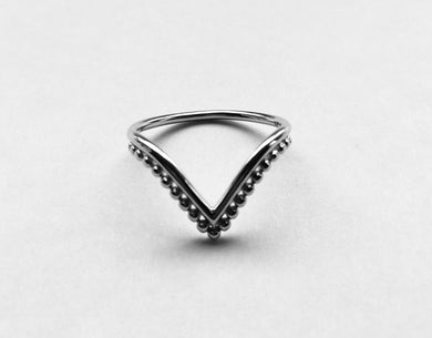 Silver V  Shape Bead Ring