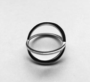 Silver Overlapping X  Ring