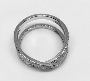 Sterling Silver Overlapped Clear Clear CZ Ring