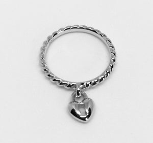 Sterling Silver Lock Heart Dangle Ring