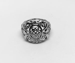 Sterling Silver Intricate Heart and Vines Ring