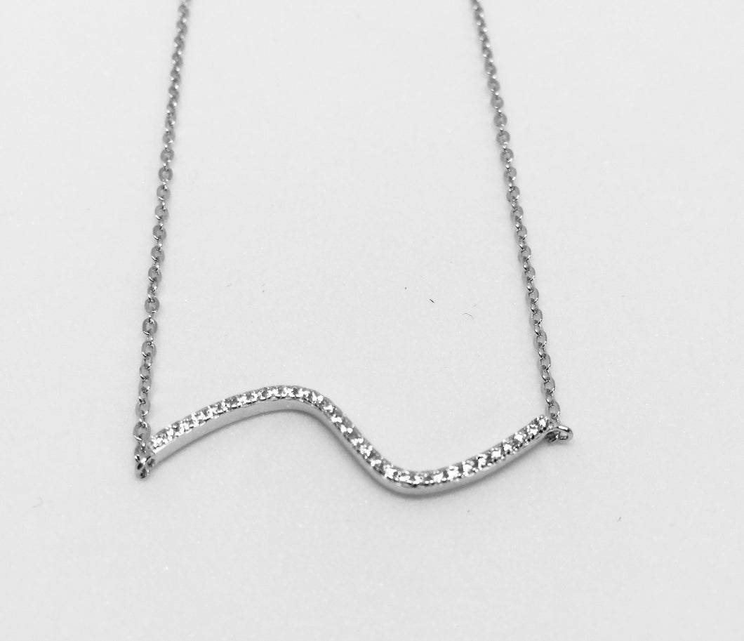 Sterling Silver Wave CZ Necklace