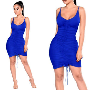 TANIA ROYAL BLUE SOLID BODYCON- D007