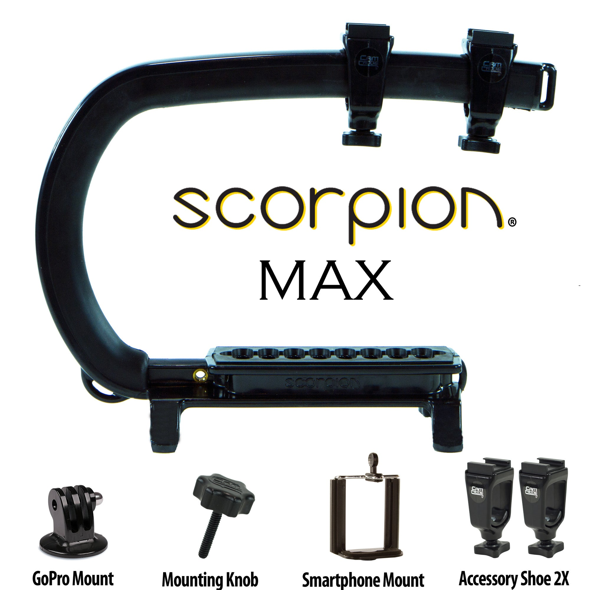 Cam Caddie Scorpion MAX Edition Universal Stabilzing Camera Handle - Includes 2 Accessory Shoes