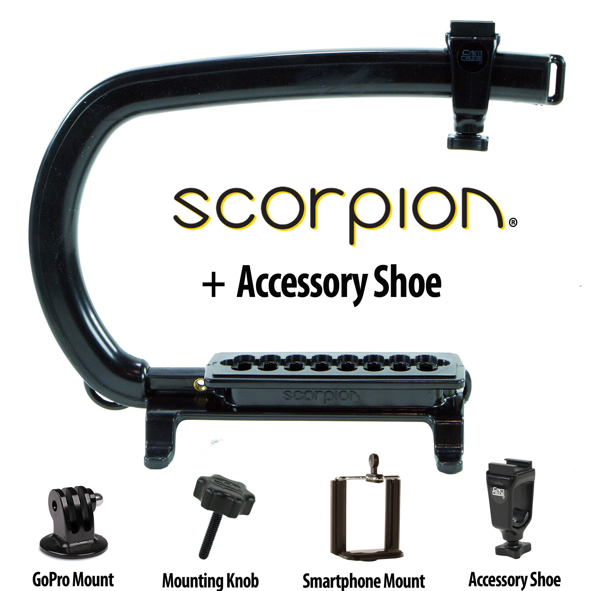 Cam Caddie Scorpion Original Camera Stabilizer Handle with Accessory Shoe - Cam Caddie - The Original Universal Stabilizing Camera Handle