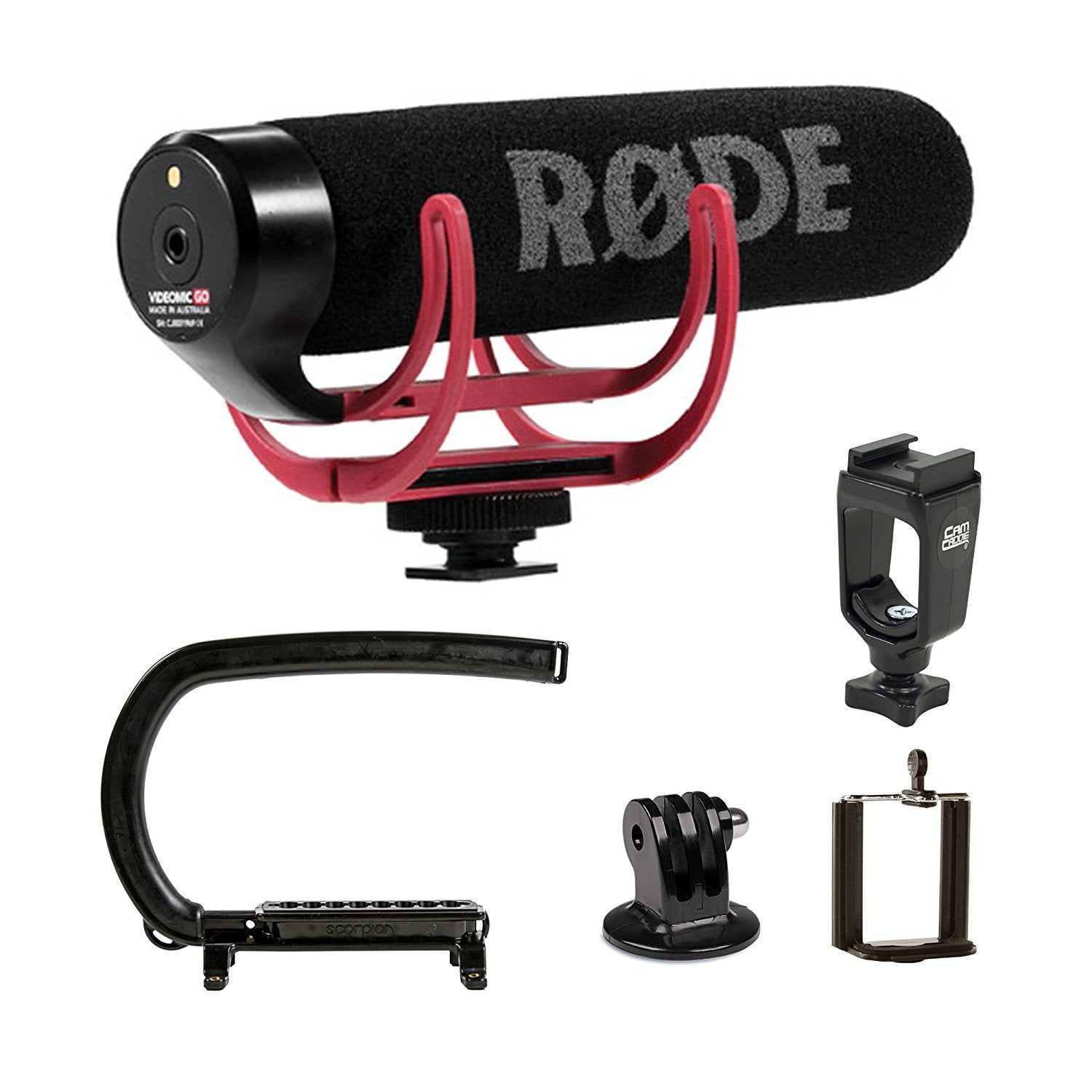 Cam Caddie Scorpion EX + RODE VideoMic GO Microphone Camera Stabilizer Bundle