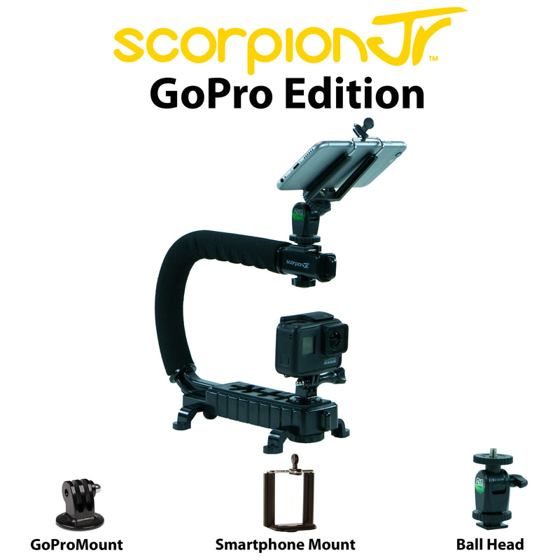 Cam Caddie Scorpion JR Triple Shoe Camera Stabilizer - Action Edition with Ball Head Mount - Black - CamCaddie.com