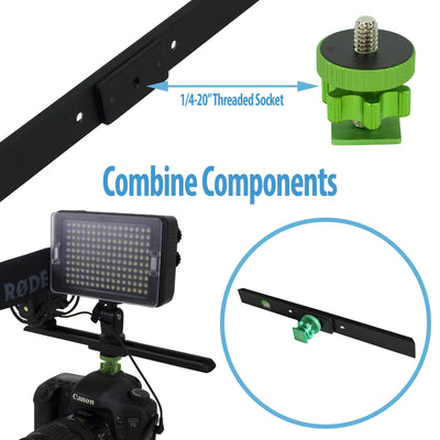 "Cam Caddie 3 Piece Camera Stabilizer Accessory Kit - Includes: Accessory Shoe, 10"" Wing and 1/4""-20 Flashner Mount - Cam Caddie - The Original Universal Stabilizing Camera Handle"