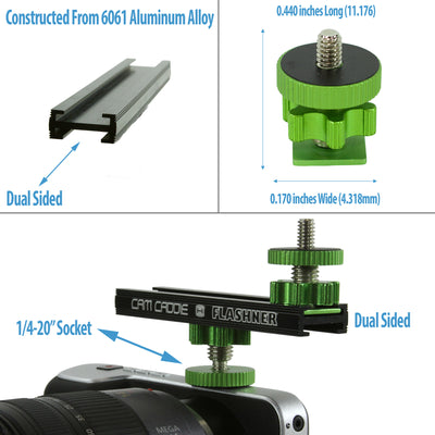 "Cam Caddie 6 Inch 1/4""-20 Flashner Kit - Dual Sided Camera Flash Shoe Extension Bracket - Cam Caddie - The Original Universal Stabilizing Camera Handle"