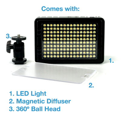 Cam Caddie LED-160 Photo / Video Light with Variable 3200° to 5600°K Color Temperature - Cam Caddie - The Original Universal Stabilizing Camera Handle