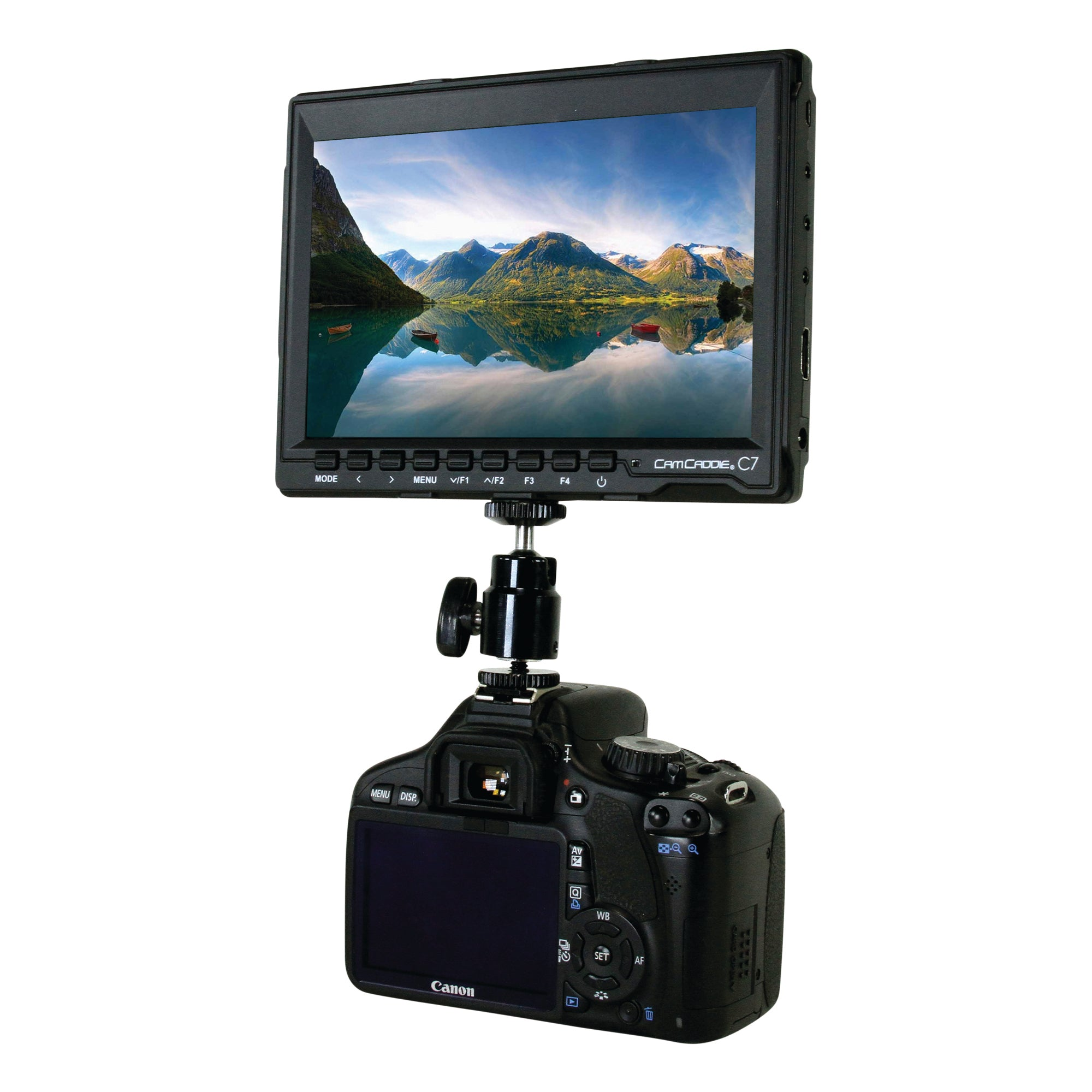 "Cam Caddie C7 7"" 1280 x 800 HD IPS Field Monitor + Canon LP-E6 Battery Plate - Cam Caddie - The Original Universal Stabilizing Camera Handle"