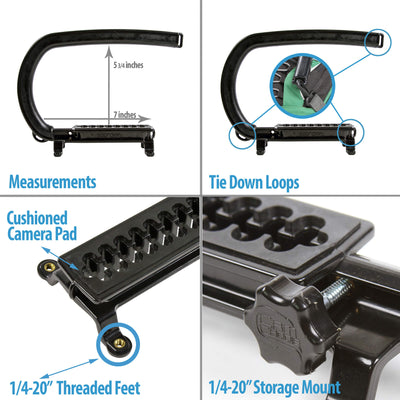 Cam Caddie Scorpion Features and Measurements 1/4-20  mounting knob and accessory mount