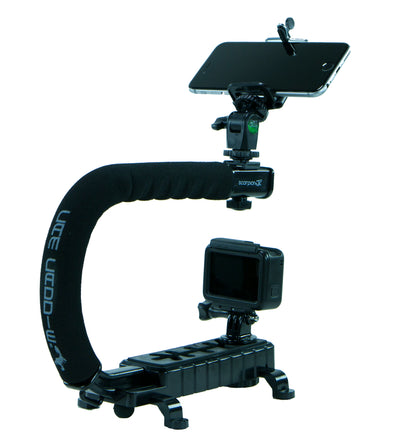 Cam Caddie Scorpion JR Triple Shoe Camera Stabilizer - Action Edition with Ball Head Mount - Black - Cam Caddie - The Original Universal Stabilizing Camera Handle