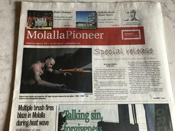 Kit Taylor featured on the front page of the Molalla Pioneer and Portland Tribune
