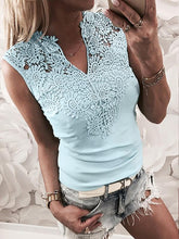 Load image into Gallery viewer, Solid Color Stitching Lace V-Neck Shirt