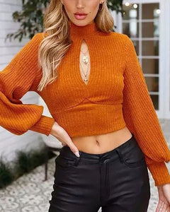 Sexy  Backless Long Sleeve Knit Shirts