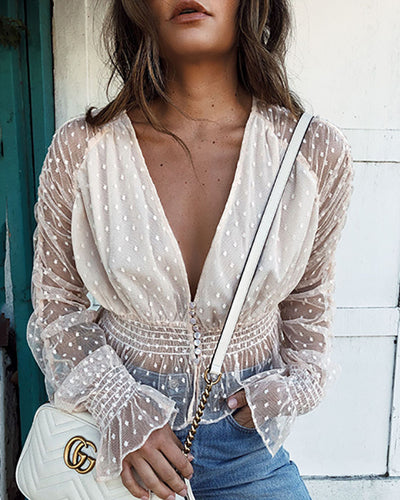 Sexy V-Neck Lace Trumpet Sleeves Perspective Top
