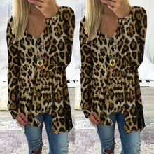 Load image into Gallery viewer, Fashion V-Neck Leopard Irregular Long Sleeve T-Shirts