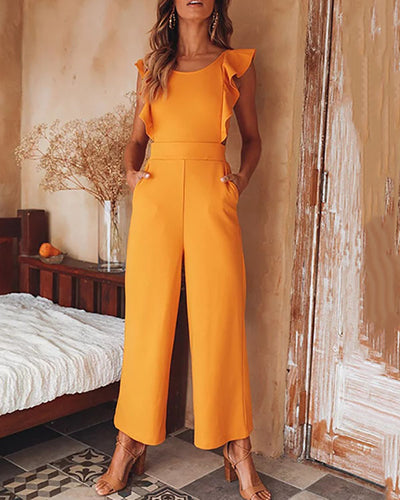 Sexy Sleeveless Ruffle Lace-Up Jumpsuit