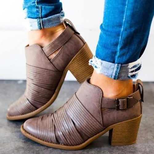 Pointed Toe Buckle Ankle Chunky Boots