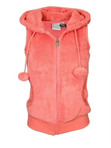Women Winter Hooded Plush Vest
