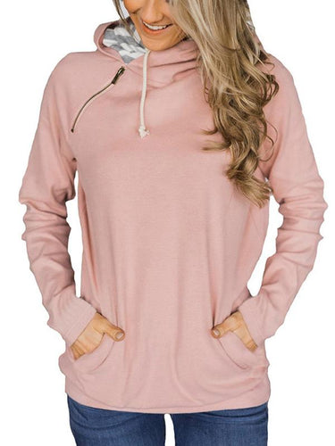 Casual Style Stitching Zipper Drawstring Long-Sleeved Hoodie