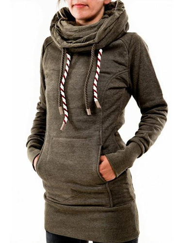 Pentagram High Collar Drawstring Women's Long Hoodie