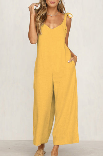 Spaghetti Strap  Plain  Sleeveless Jumpsuits