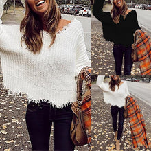 Load image into Gallery viewer, V-Neck Sweater Irregular Knitted Pullover Knitwear