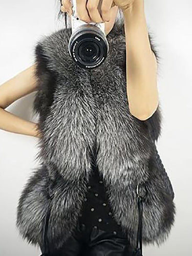 Short Design Women Simulation Fur Vest Coat