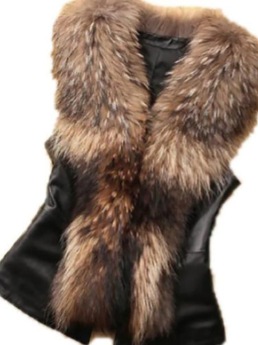 Women Faux Fur Collar Vest Coat