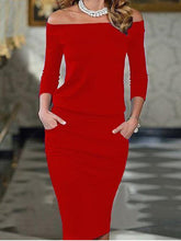 Load image into Gallery viewer, Off Shoulder Patchwork Plain Fitted Bodycon Dress