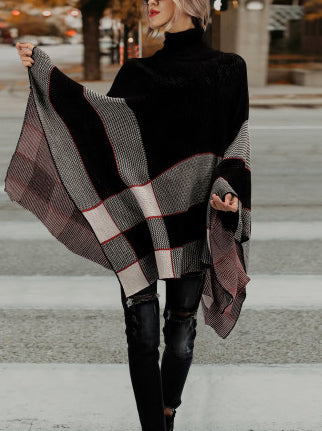 Elegant Chic Loose Plaid High Collar Cape Sweater