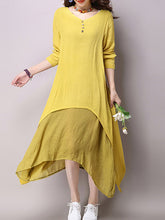 Load image into Gallery viewer, V-Neck  Plain  Cotton/Linen Shift Dresses