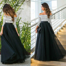 Load image into Gallery viewer, Cutaway Collar Striped Evening Dress