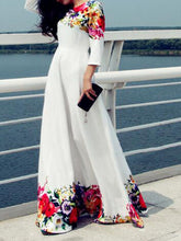 Load image into Gallery viewer, Round Neck  Floral  Polyester Evening Dresses
