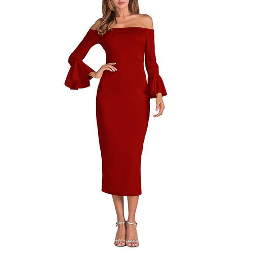 Off The Shoulder Trumpet Sleeve Bodycon Dress