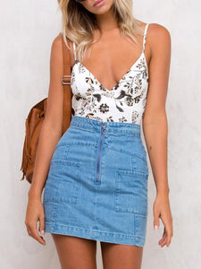 Spaghetti Strap  Backless  Printed One Piece