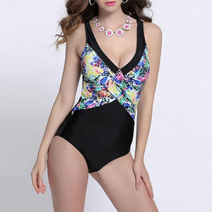 Plus Size Floral Printed Low-Cut Elastic Wireless One Piece Swimsuit
