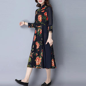 3/4 Sleeve Stand Collar Two Piece Shift Dress