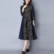 Load image into Gallery viewer, 3/4 Sleeve Stand Collar Two Piece Shift Dress